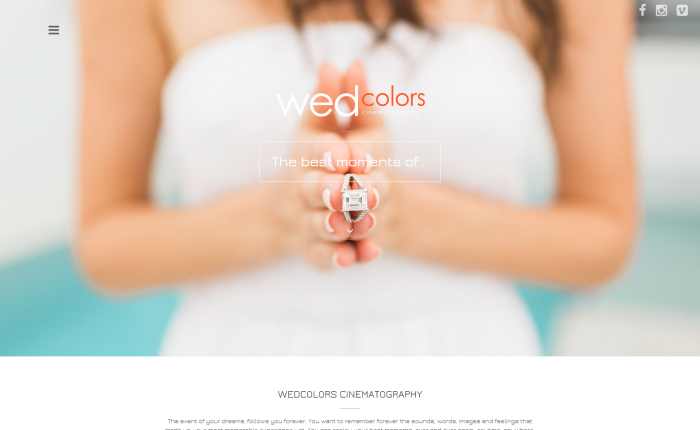 Wedcolors cinematography homepage screenshot